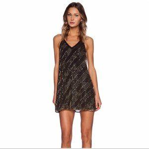 NBD Gold Black Beaded Envy Mini Dress
